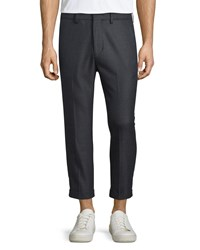 Vince City Cropped Chino Trousers Charcoal Grey Women's