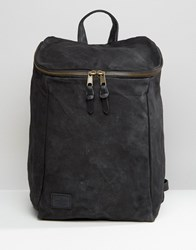 Asos Backpack In Washed Canvas With Chunky Zip Top Black