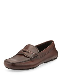 Prada Leather Penny Loafer Brown