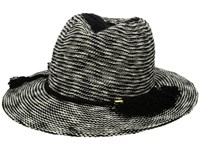 Vince Camuto Tasseled Packable Panama Hat Black Traditional Hats
