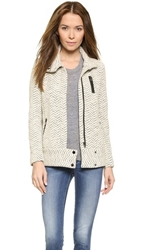 Rebecca Taylor Terry Tweed Moto Jacket Ecru Black