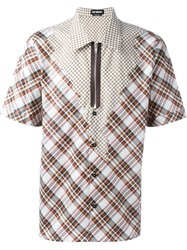 Raf Simons Checked Patchwork Shirt Brown