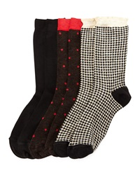 Neiman Marcus Houndstooth Polka Dot And Solid Three