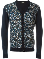 Fendi Granite Print Cardigan Blue