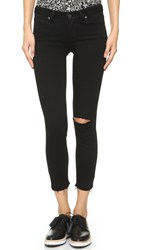Paige Verdugo Crop Skinny Jeans Jett Black Destructed