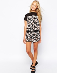 Influence Floral Print Shorts With Contrast Panel Multi