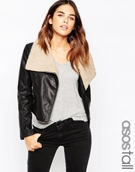 Asos Tall Biker Jacket With Borg Waterfall Black