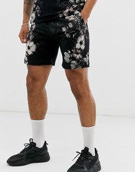 Religion Co Ord Shorts With Floral Side Print In Black
