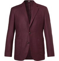 Hardy Amies Plum Slim Fit Unstructured Cashmere Blazer Plum
