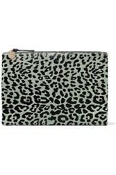 Clare V. Leopard Print Calf Hair Clutch Animal Print