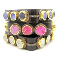 Meghna Jewels Square Ebony Druzy Bangle Pink Purple