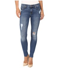 7 For All Mankind The Skinny W Contrast Squiggle Destroy In Hyde Park Hyde Park Women's Jeans Blue