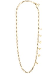 Chanel Vintage Logo Charm Necklace Metallic