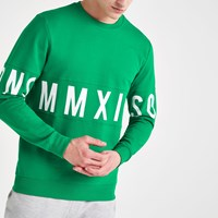 River Island Only And Sons Green Printed Sweatshirt