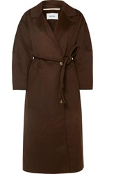 Nanushka Loane Oversized Belted Wool And Silk Blend Coat Dark Brown