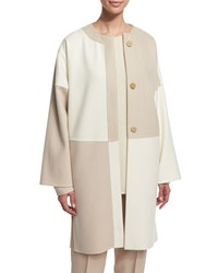 Shamask Long Sleeve Button Front Kimono Coat Ivory Tan Women's