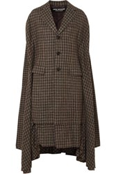 Junya Watanabe Cape Effect Pleated Checked Twill Coat Anthracite