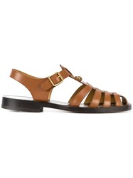 Gucci Buckle Strap Sandals Men Leather 11 Brown
