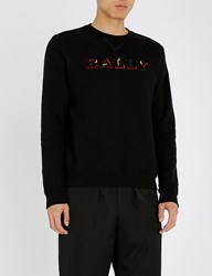 Bally Logo Print Cotton Jersey Sweatshirt Black