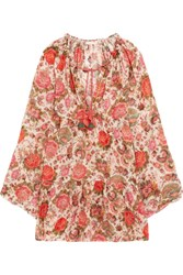 Anjuna Viky Beaded Printed Cotton Voile Dress Pink