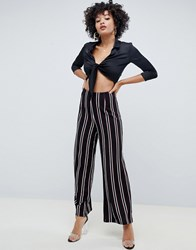 Ax Paris Striped Wide Leg Trouser Black