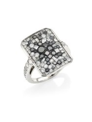 Pleve Black Galaxy White And Black Diamond Ring White Gold
