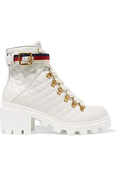 Gucci Trip Grosgrain Trimmed Quilted Leather Ankle Boots White
