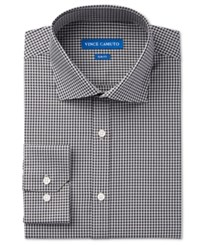Vince Camuto Men's Slim Fit Navy Grey Gingham Dress Shirt Navy Grey