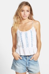 Frenchi Embroidered Tank Juniors White