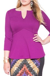 Plus Size Women's Eloquii Empire Waist Flare Top Fall Grape