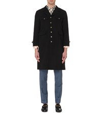Gucci Bird Embroidery Wool And Linen Blend Trench Black