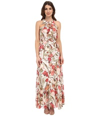Adrianna Papell Crossover Drape Halter Printed Maxi Coral Multi Women's Dress