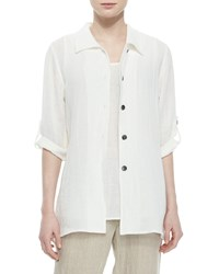 Caroline Rose 3 4 Sleeve Crinkled Linen Shirt Women's