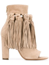 Chloe Fringed Open Toe Booties Nude Neutrals