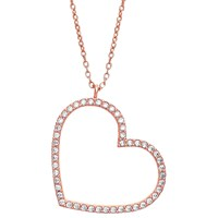 Estella Bartlett Rose Gold Plated Sterling Silver Cubic Zirconia Large Heart Necklace Rose Gold