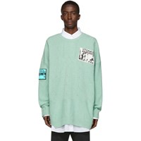 Raf Simons Blue Oversized Patch Sweater