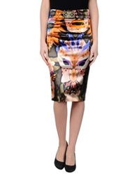 Frankie Morello Knee Length Skirts Orange