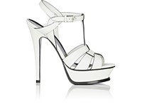 Saint Laurent Women's Tribute Leather Platform Sandals White Black White Black
