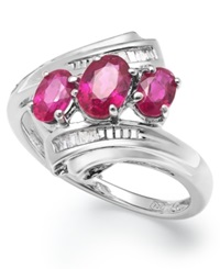 Macy's Sterling Silver Ruby 1 Ct. T.W. And Diamond Accent Three Stone Ring