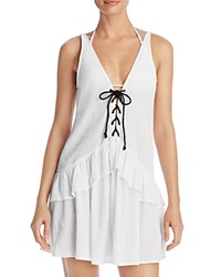 Minkpink Lace Up Frill Dress Swim Cover Up White