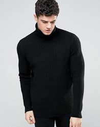 Jack And Jones Turtle Neck Knit Jumper Black