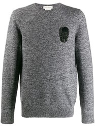 Alexander Mcqueen Beaded Skull Patch Knitted Sweater Grey