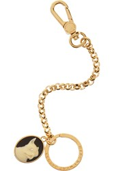 Marc By Marc Jacobs Olive Gold Tone Cameo And Crystal Keychain