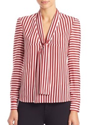 Red Valentino Striped Silk Tie Neck Blouse Red
