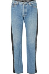 Vetements Leather Paneled High Rise Straight Leg Jeans Mid Denim Gbp