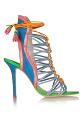 Sophia Webster Lacey Baby Color Block Suede And Patent Leather Sandals Green