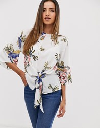 Ax Paris White Based Floral Knot Front Top