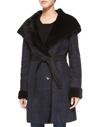 Goes Suede Belted Coat W Fur Trim