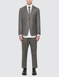 Thom Browne Super 120S Classic Wool Twill Suit With Tie Grey