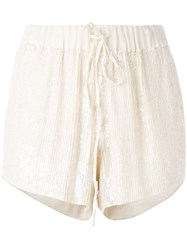 P.A.R.O.S.H. Drawstring Sequin Shorts Nude Neutrals